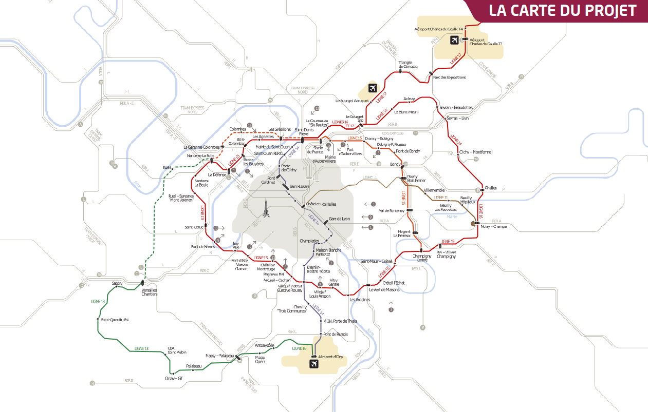 Carte du Grand Paris Express